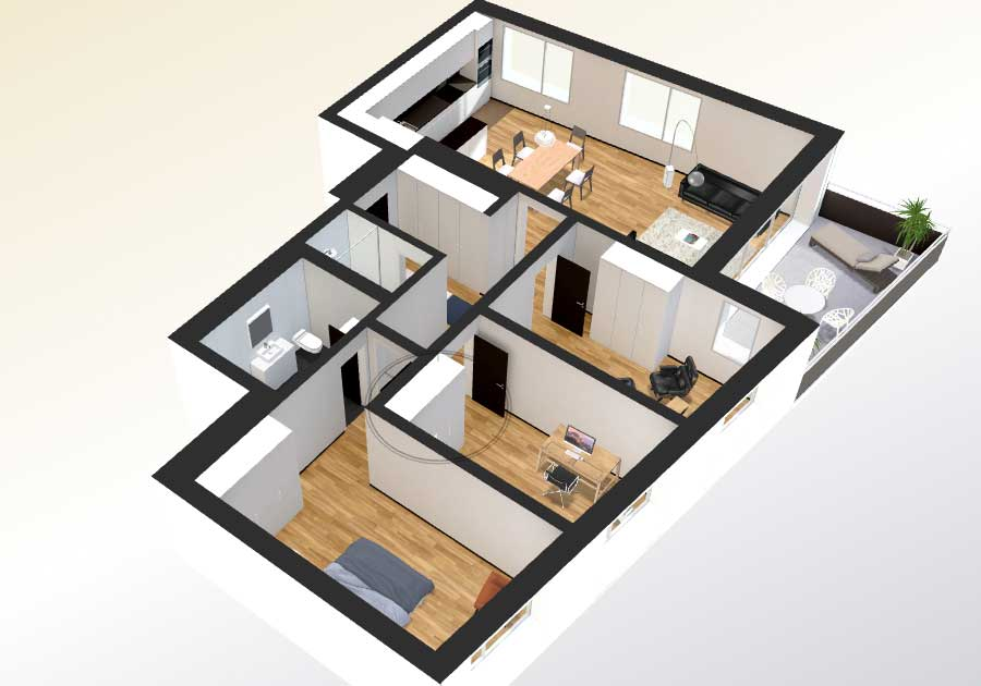Home floor plan virtual tour for Interactive house design