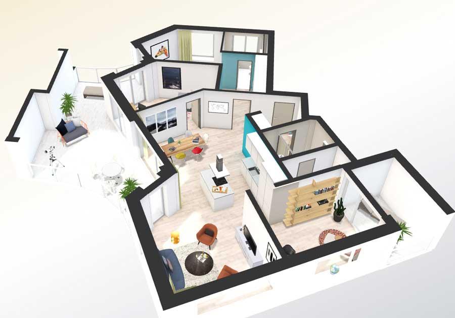 Interactive floor plan 3d 3d floor virtual tour online india for Online house planner 3d