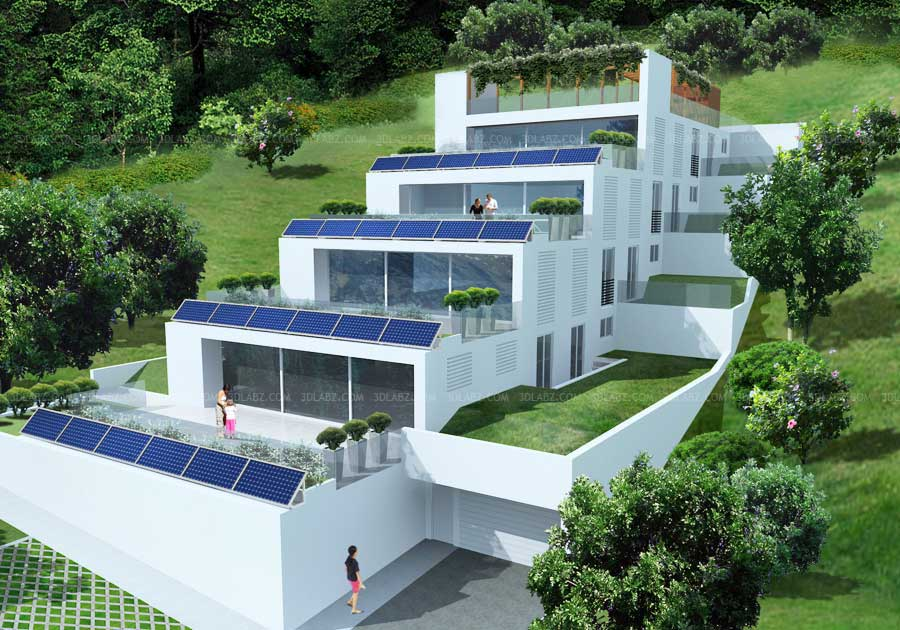 3d rendering minusio switzerland house 3d rendering for Terrace in house