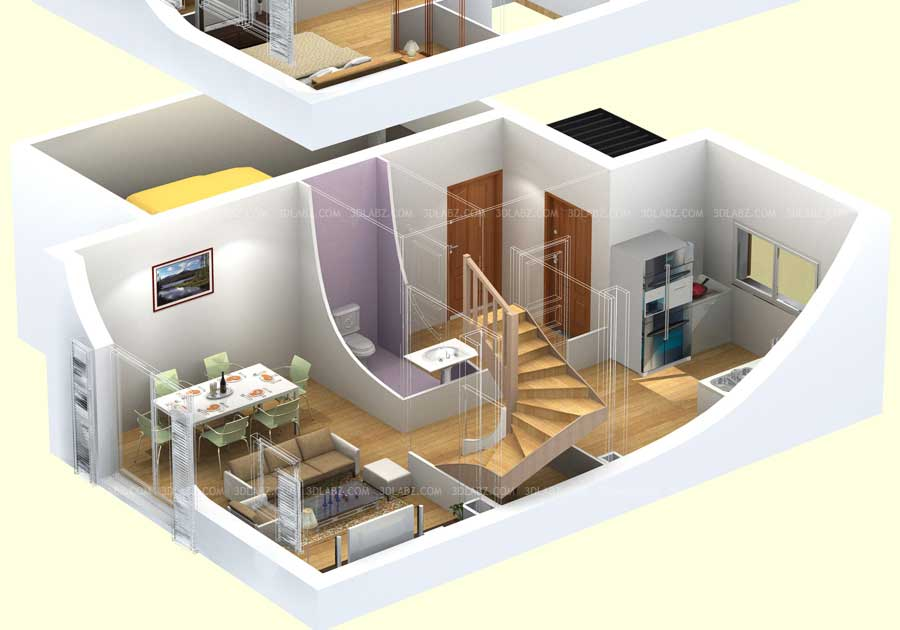 3d floor plan design price cost 3d floor plan rendering india for One floor house design plans 3d