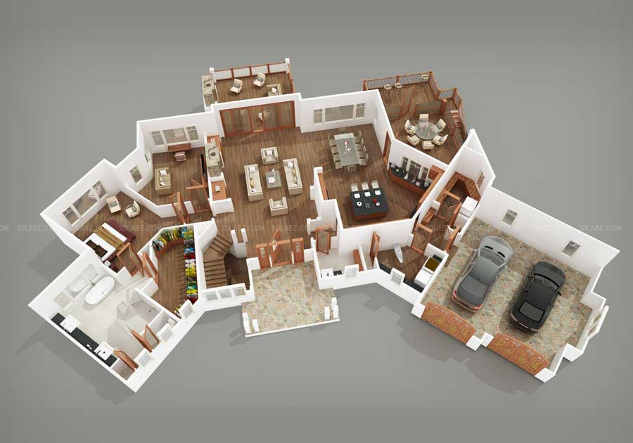 Floor plan cost 3d 2d floor plan design services in india for One floor house design plans 3d