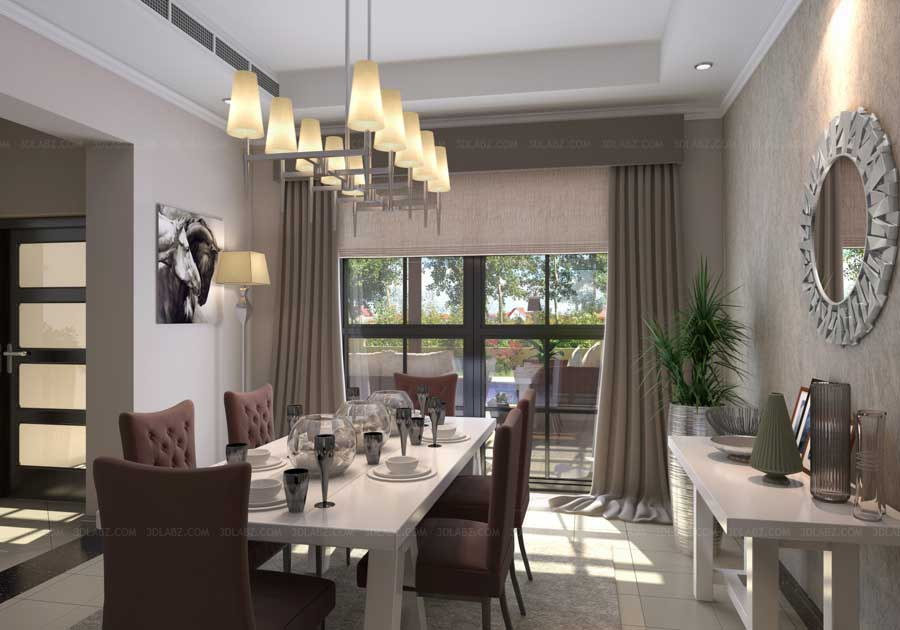 Interior 3d rendering 3d interior rendering india for Dining room 3d view