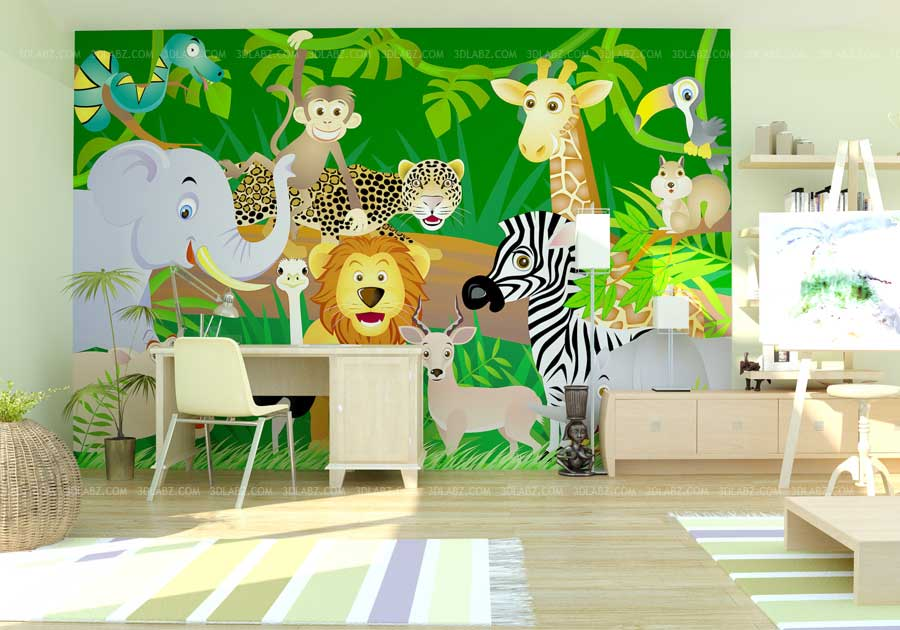 3d rendering kids room rendering studio madrid spain for 3d wallpaper for living room india