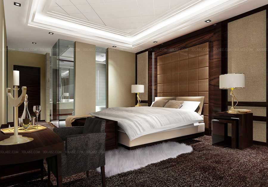Bedroom 3d interior hotel interior design singapore for 3 bedroom interior design