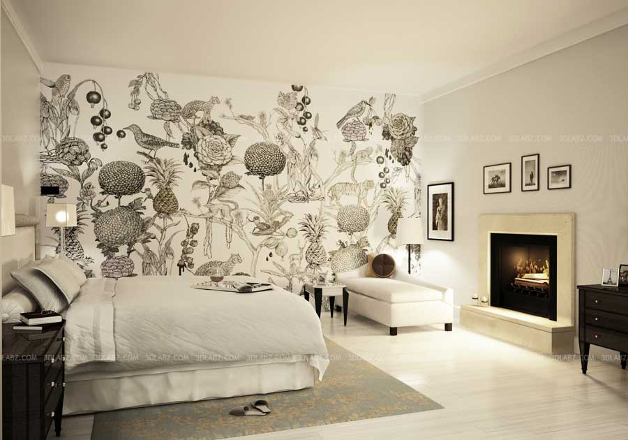 Bedroom concept design with wall paper tokyo japan for 3d wallpaper bedroom design
