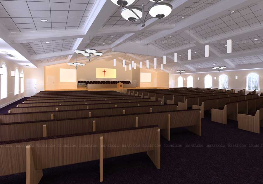 Church 3d interior design church 3d rendering india for Church interior designs pictures