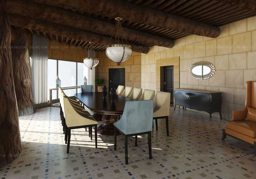 Living hall 3d view 3d architectural studio dubai for Dining room 3d view
