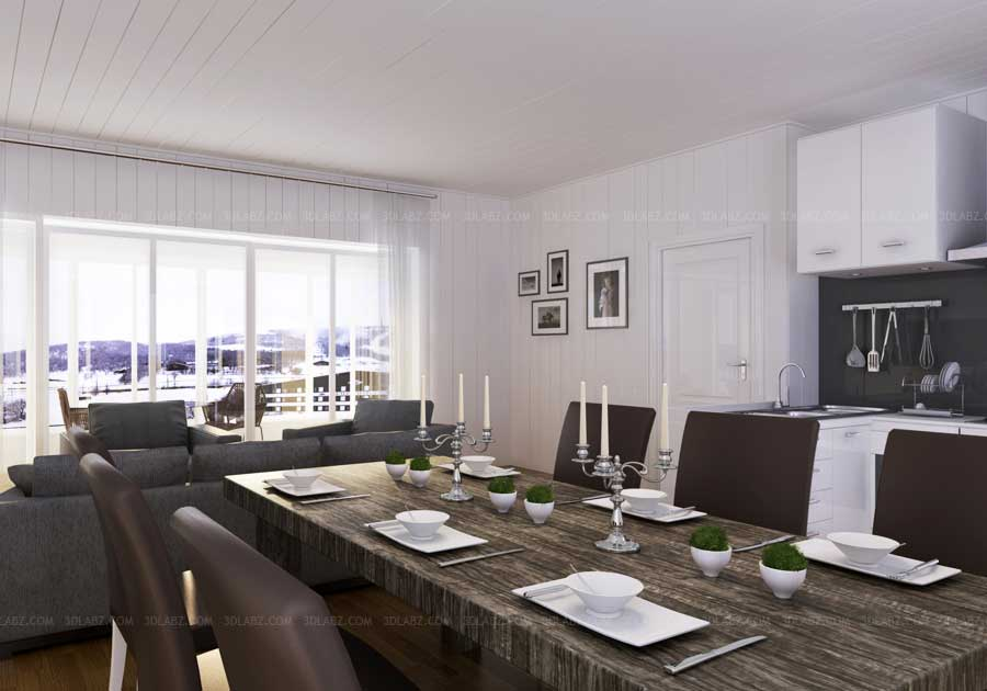 Dining room 3d view dining room 3d interior design for Dining room 3d view
