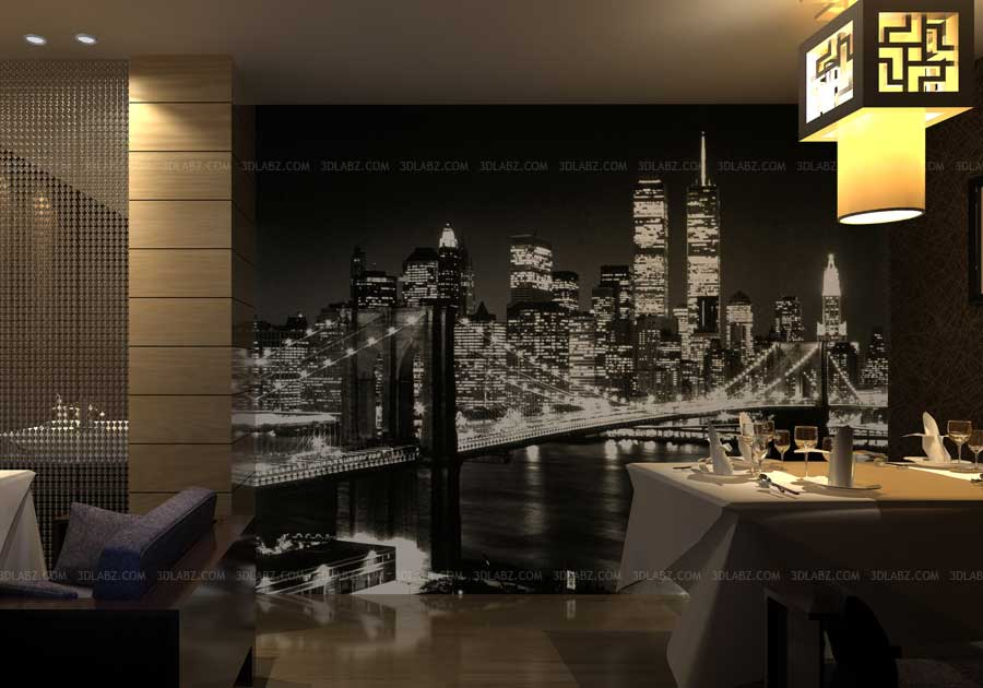 dining room wall paper interior 3d render view