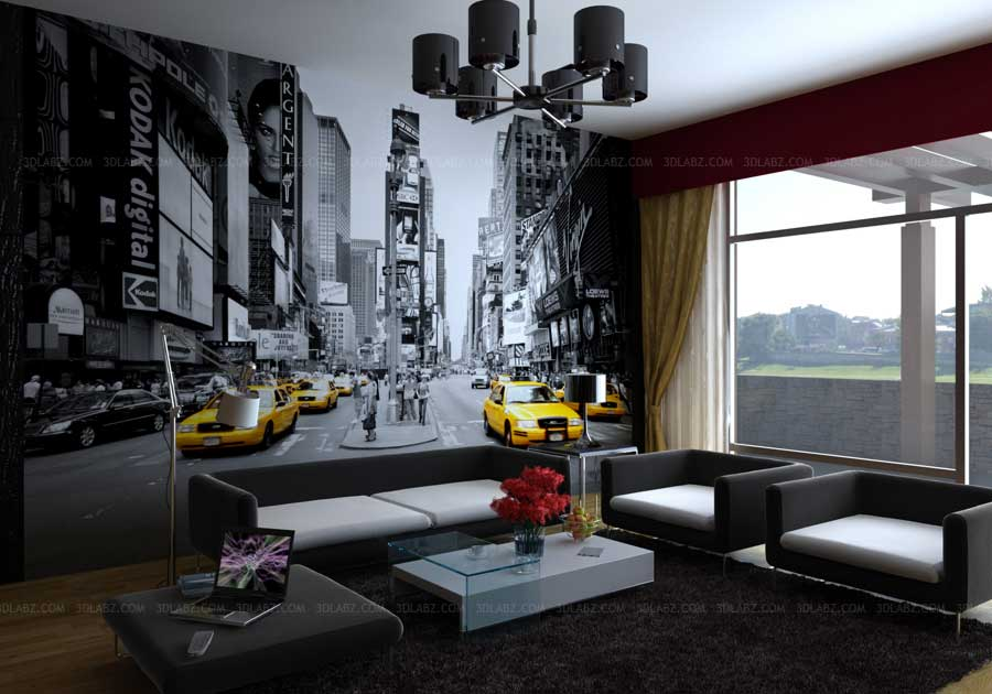 Interior home decor ideas house 3d decor for Wallpaper for living area