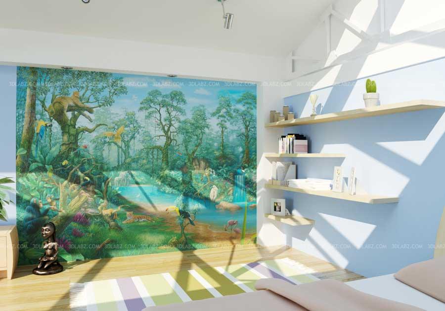 Exterior: Kids Room Wallpaper Design And Rendering Price