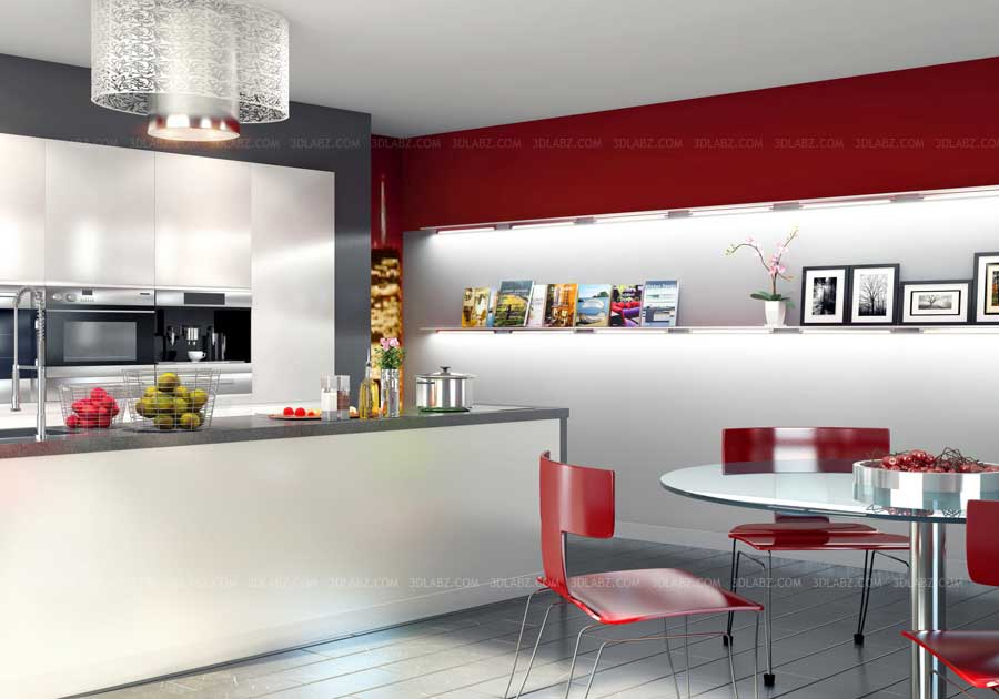 Kitchen 3D Design Price|Cost Kitchen 3D Image Rendering India