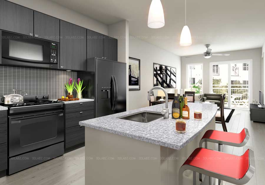 Kitchen 3d Rendering Kitchen Design 3d View Designer