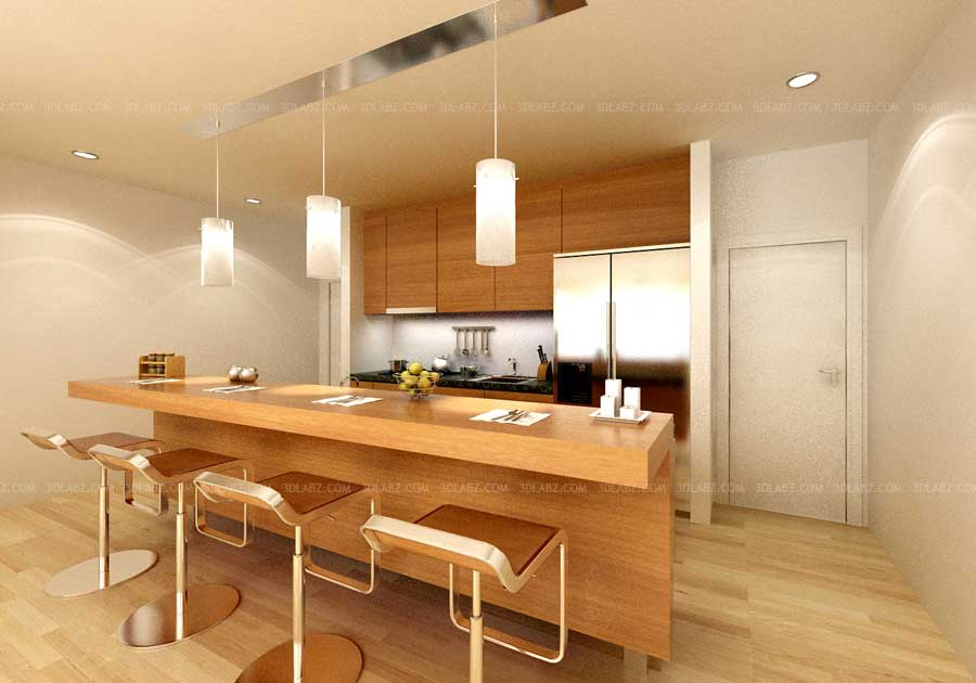 Kitchen interior 3d rendering views kitchen 3d images for Interior decoration of kitchen pictures