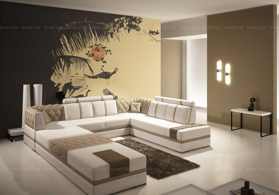 Living room 3d image rendering ha noi vietnam for 3d wallpaper in living room