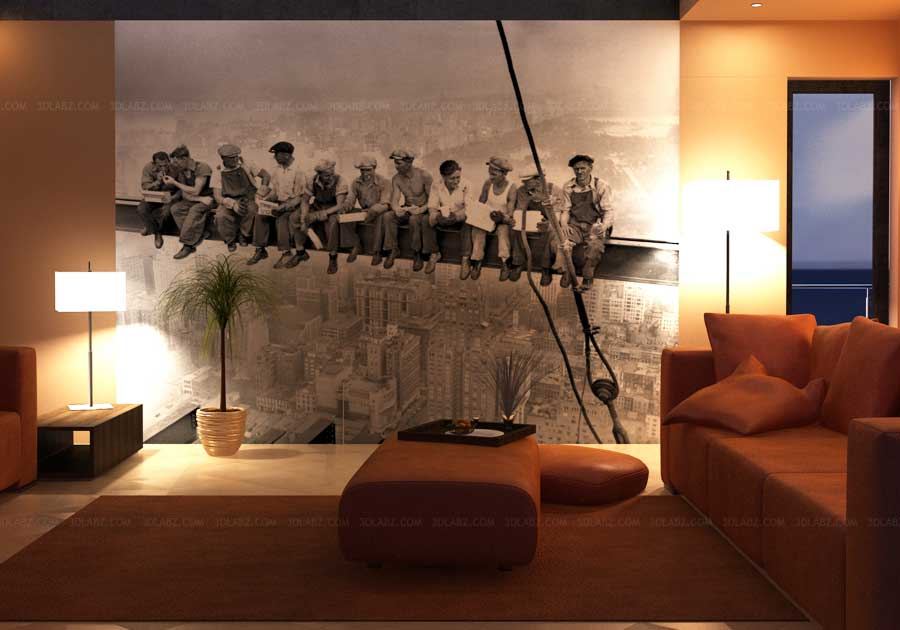 Living room wall paper 3d rendering beijing for Living room paper