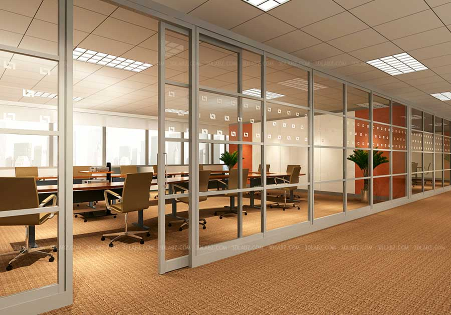 Office 3d Interior Glass Wall Ohio United States